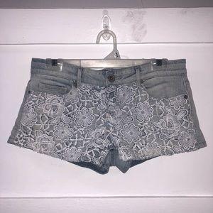 Light Denim Short Shorts with White Floral Crochet